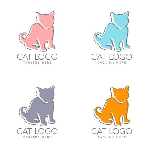 simple cat logo design vector