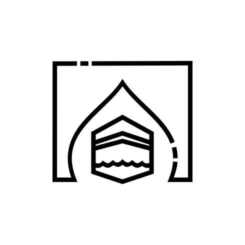 conception d'icône de contour kaaba vecteur