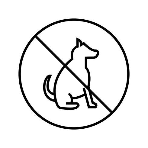 Schön kein Haustier Zeichen Linie schwarze Ikone