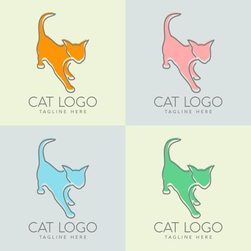 simple cat logo design vector