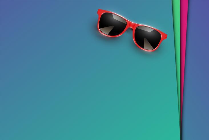 Folhas coloridas de papéis com óculos de sol realistas, ilustração vetorial