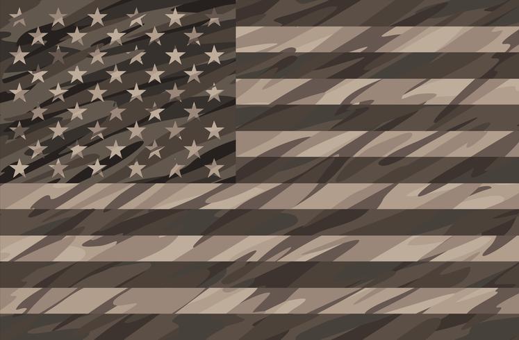 Patriotic Desert Tan Camo USA Flag Vector Illustration