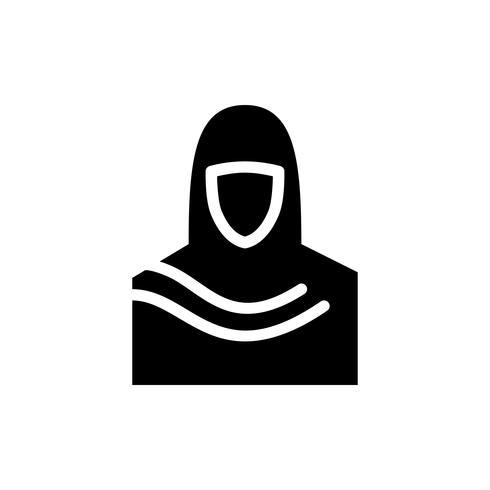 Muslimska kvinnors ikon glyph. Ramadan kareem