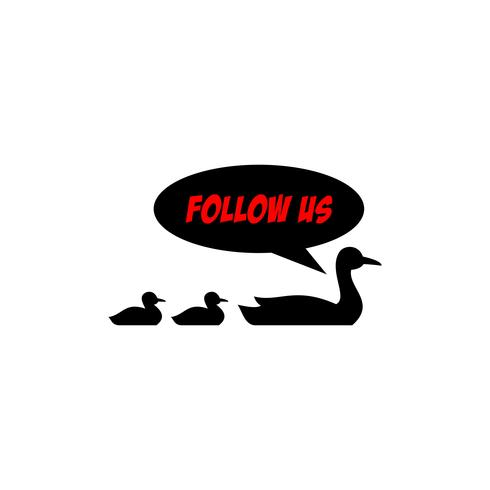 Síguenos en la plantilla de diseño de pato. Colores rojo y negro. Fondo blanco vector