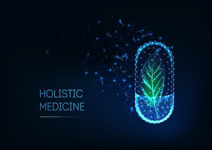 Concetto di medicina olistica con incandescente futuristica pillola capsula poligonale basso e foglia verde.