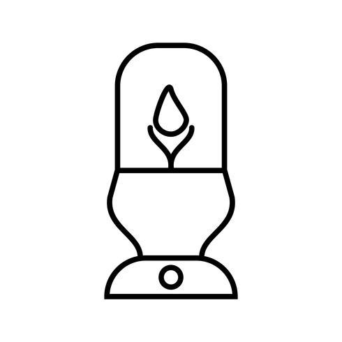 Beleuchtete Lampe Schöne Linie Schwarze Ikone