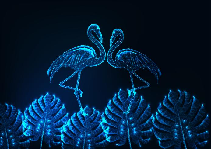 Tropical summer concept with glowing low poly couple of flamingos and monstera leaves on dark blue. vector