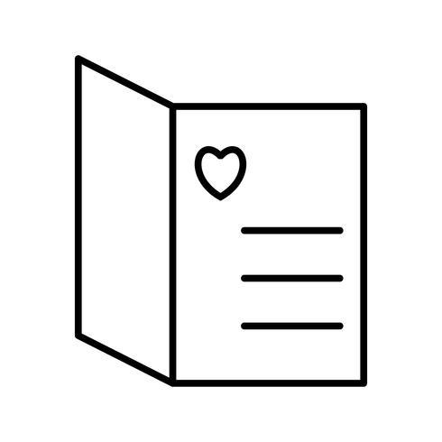 Hermosa tarjeta abierta línea icono negro vector