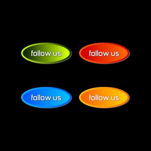 Suivez-nous texte modèle de conception moderne. Nuance de couleurs bleu, vert, violet et orange.