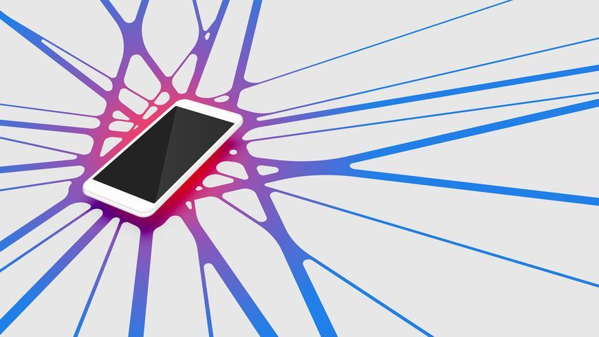 Smartphone 3D realista com fundo abstrato colorido, ilustração vetorial