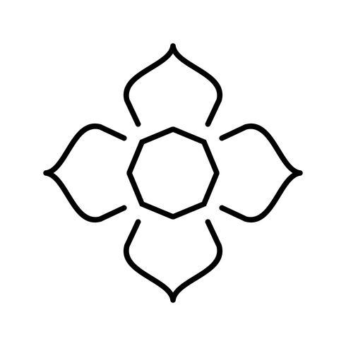 Islamischer Stern Schöne Linie Schwarze Ikone