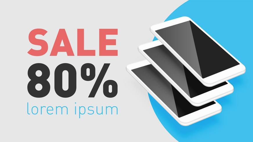 Smartphones réalistes avec texte promo, illustration vectorielle
