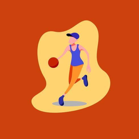 Figure basketteur dribble portant un chapeau bleu, une chemise bleue et un pantalon orange.