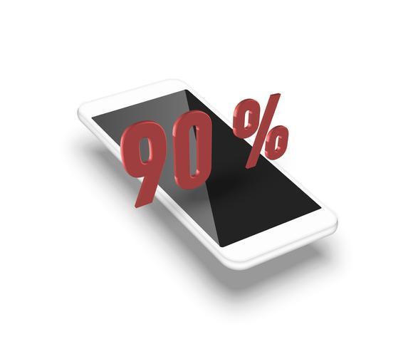 Realistisk smartphone med en 3D-procent, vektor illustration