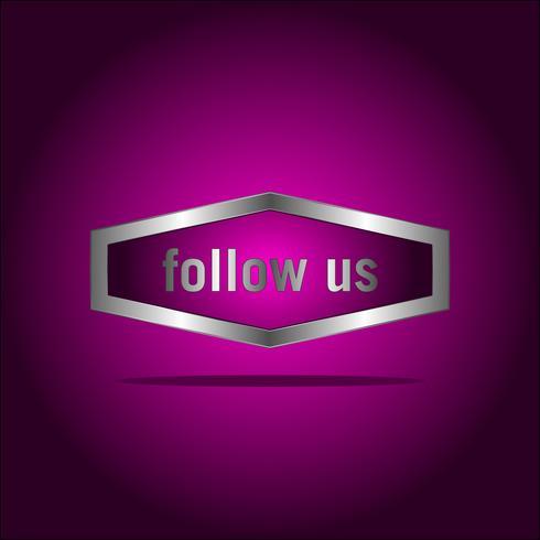 Suivez-nous texte modèle de conception moderne. Couleurs violettes et blanches. Fond coloré