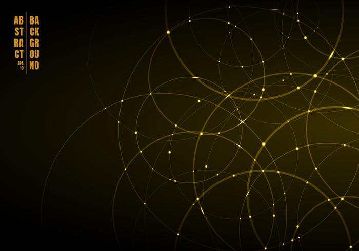 Círculos de neón de oro abstracto con luz superpuesta sobre fondo negro. vector
