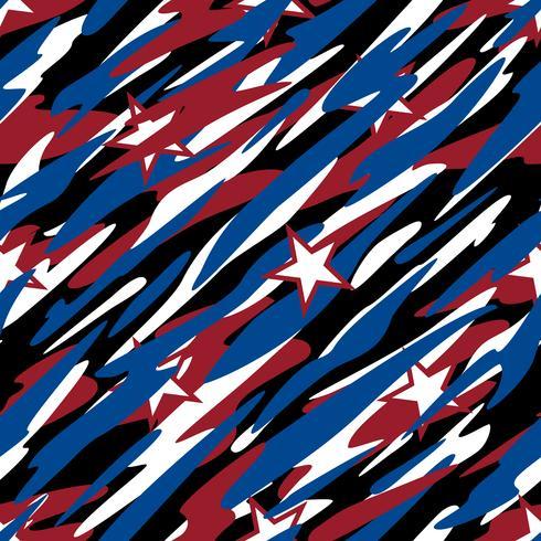 Camuflagem patriótica vermelho branco e azul com estrelas orgulho americano Abstrata sem costura padrão repetindo ilustração vetorial