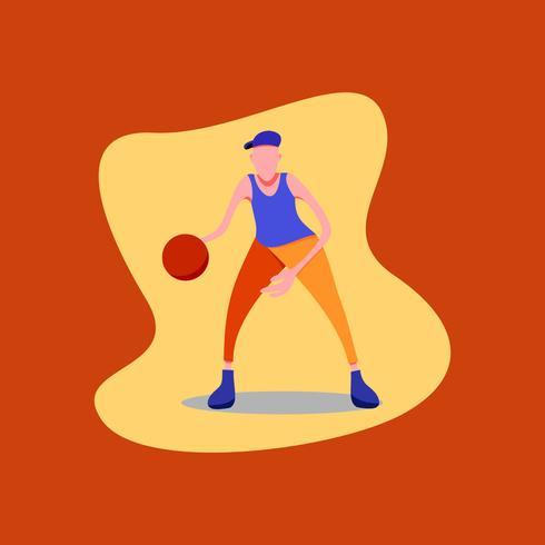 Figura palleggio giocatore di basket che indossa un cappello blu, camicia blu e pantaloni arancioni.