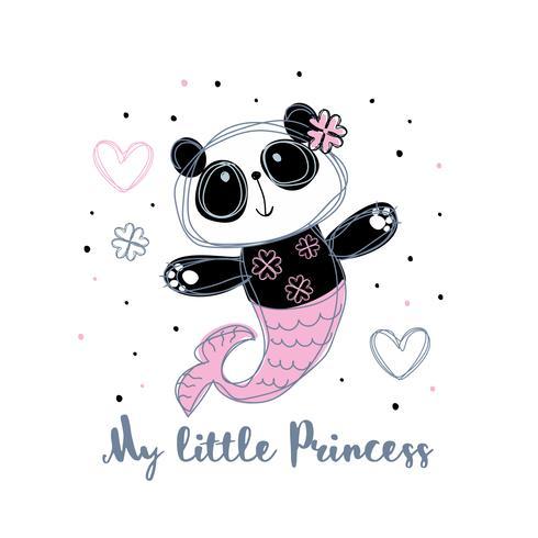 Sirena panda Dulce niña. Pequeña princesa. Vector