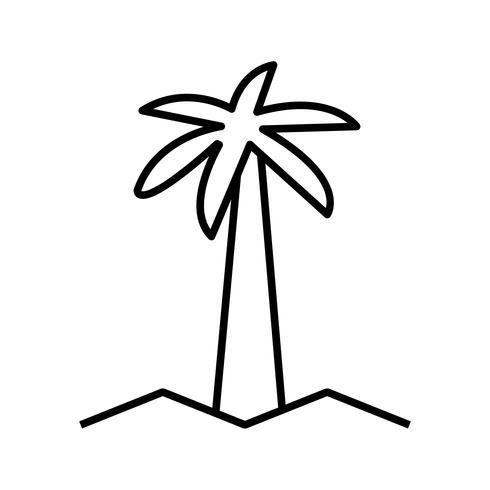Coqueiro linda linha preta ícone