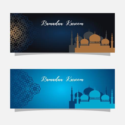 Religion muslim celebration. Ramadan kareem banner illustration. Islamic greeting card template. vector