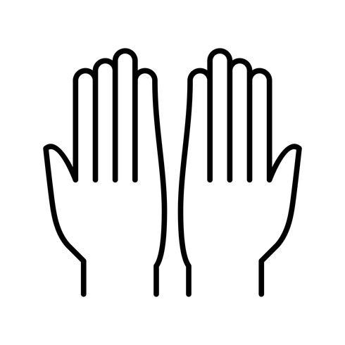 Biddende handen Mooie lijn zwarte pictogram