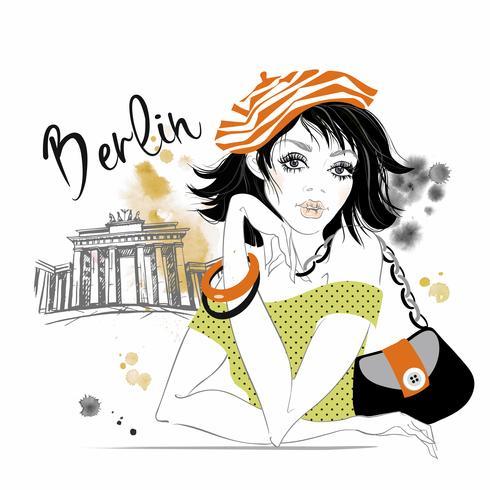 The girl travels to Germany. Berlin. Brandenburg gates. Vector