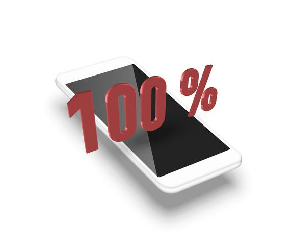 Smartphone realistico con una percentuale 3D, illustrazione vettoriale