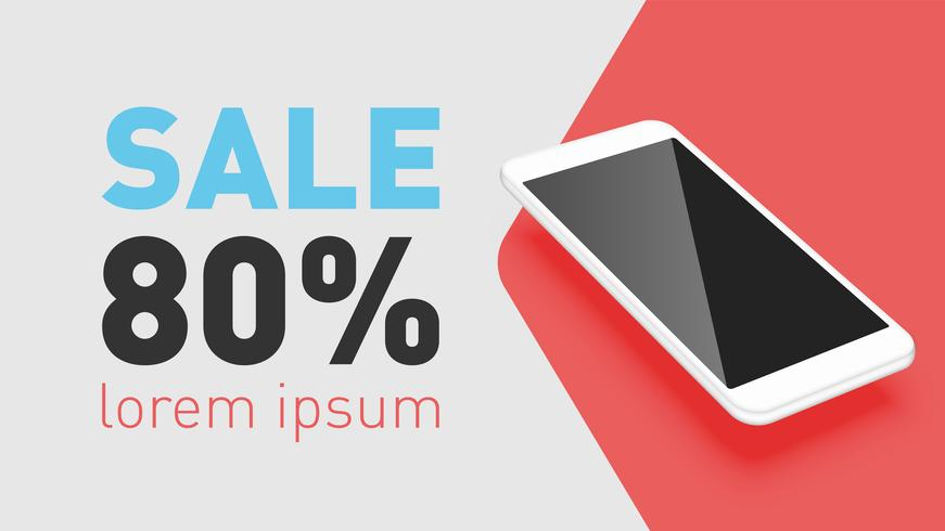 Realistic smartphone with promo text, vector illustration