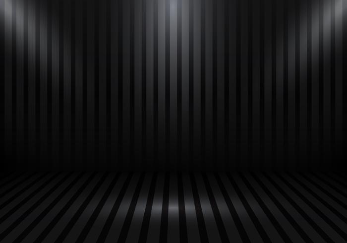 Stand de salle studio vide 3D pour les concepteurs avec des rayures et des projecteurs sur fond dégradé noir. Affichez votre produit ou vos illustrations.
