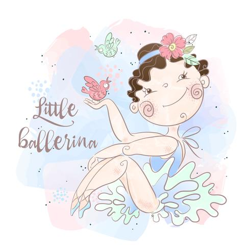 A little ballerina with birds. Nice style. Vector