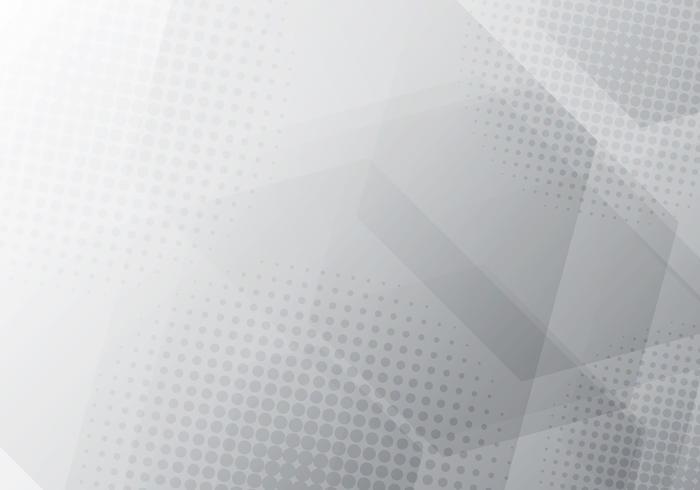 Abstrakta grå och vita geometriska hexagoner överlappar bakgrund med radiell halvton.