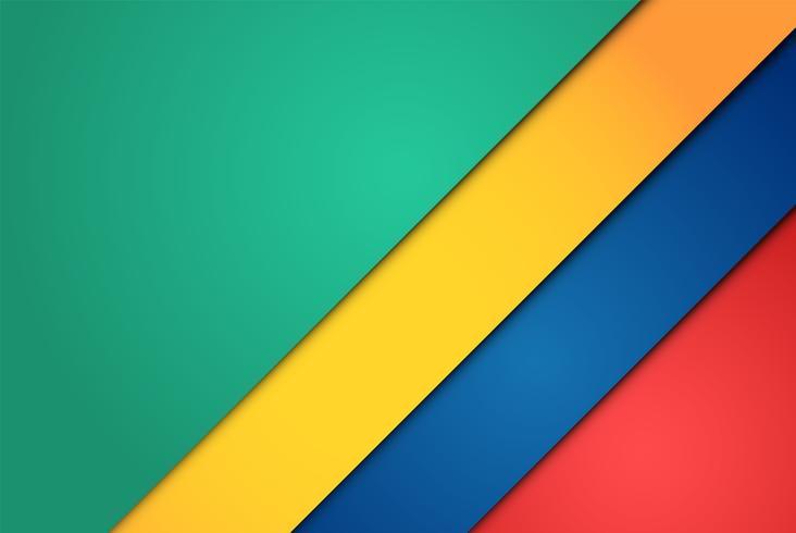 Realistas hojas de papel rojo, verde, azul y amarillo.