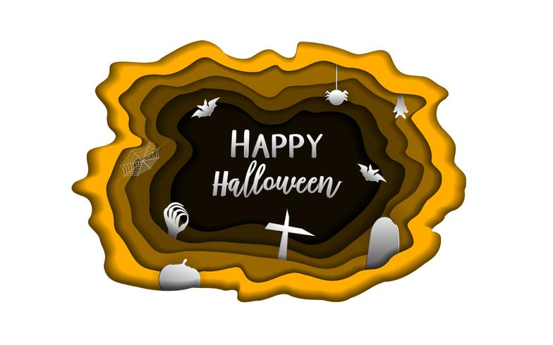 Happy Halloween day paper carve background. Cute paperart and paperwork concept for ghost greeting card material. Cartoon artwork poster. Holiday vector template invitation letter cover style theme