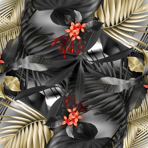 Feuilles tropicales noires et dorées sur fond blanc