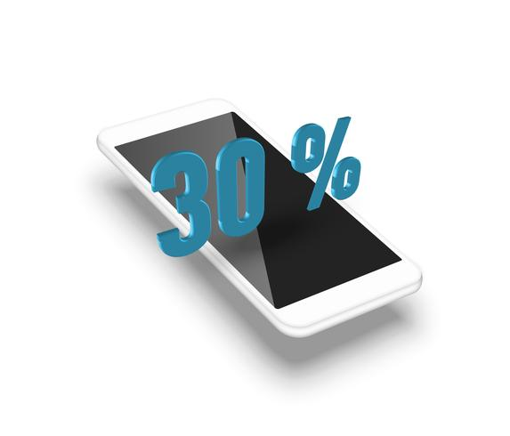 Smartphone realista com uma porcentagem 3D, ilustração vetorial