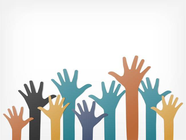 Mani colorate. Mani sollevate volontarie. concetto di lavoro di squadra. arte cartacea e stile artigianale.