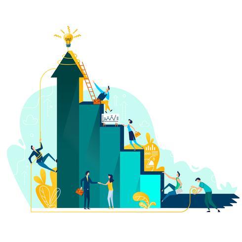 Target achievement and teamwork business concept