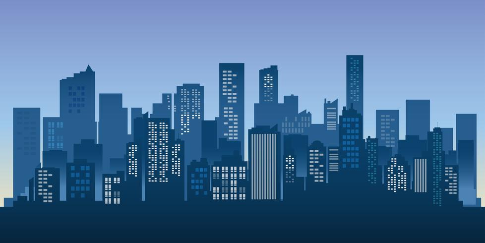 Fond de paysage urbain de bâtiments silhouette. Architecture moderne. Paysage urbain de la ville.