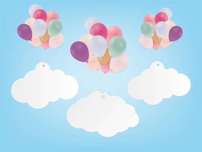 Verjaardag poster met ballonnen. Gekleurde vlaggen en confetti op blauwe achtergrond.