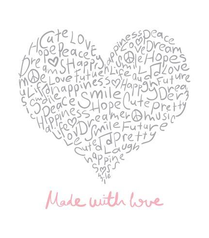 Gemaakt met liefdeontwerp vector