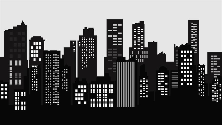 Silhouette City landskap. Modern byggnadsarkitektur Urban stadsbild.