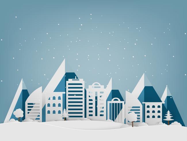 God Jul och Gott Nytt År. Vinterlov snö i parken vid stadsbilden bakgrund. papperskonst och hantverksstil.