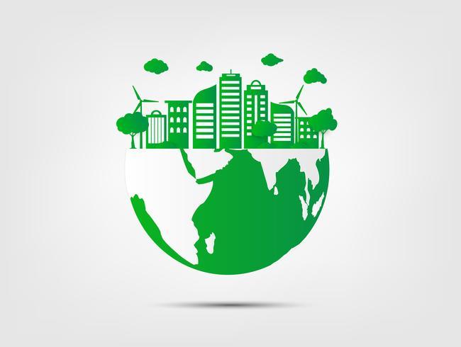 Hierba verde y árbol con eco amigable y el concepto de ecología. Naturaleza verde ciudad y mundo ambiental.