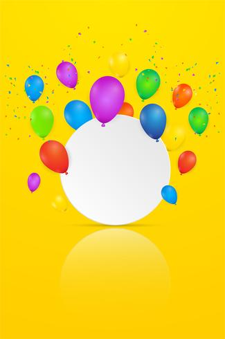 Papierkunst mit Wolke auf blauem Himmel. Kopieren Sie Platz. Sprechblase, weißes leeres Hängen und Ballon.