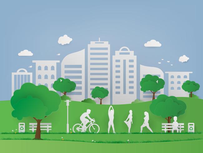 Parco pubblico di paesaggio nel paesaggio urbano urbano. Erba verde ed albero con eco amichevole e concetto di ecologia. Natura Città verde e mondo ambientale.