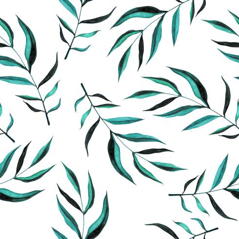 Leaf watercolor pattern seamless