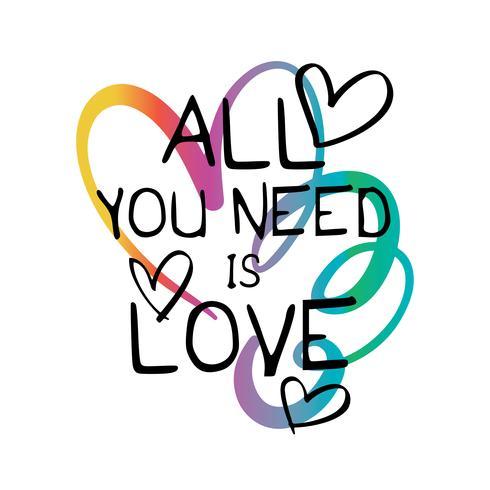 Tudo que você precisa é citação de amor vetor