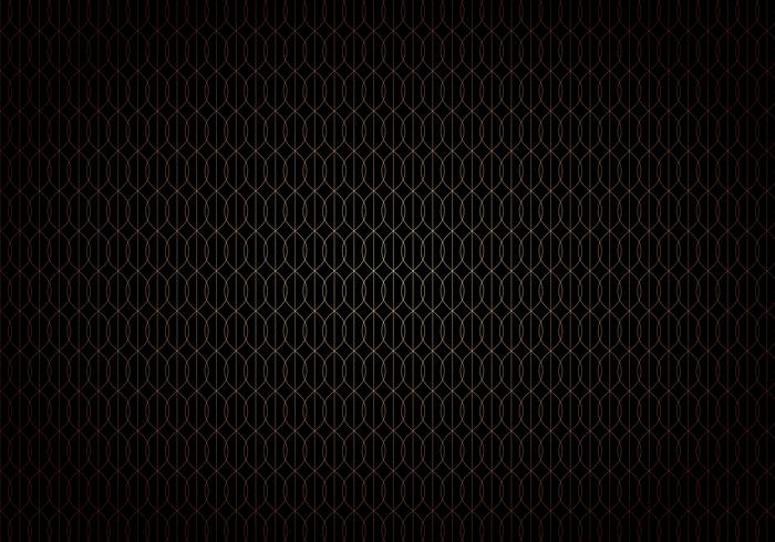 Abstract wave lines gold gradient seamless trellis pattern on black background art deco style.