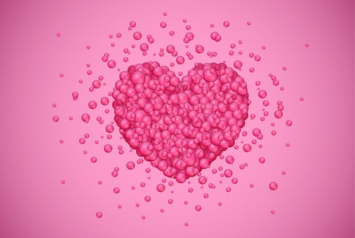 Coeur rouge faite de petites bulles, illustration vectorielle vecteur